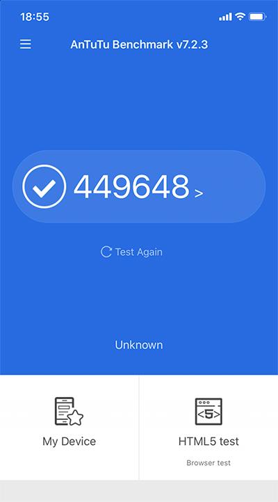 iPhone 11のAntutu Benchmarkのスコアは「約449648点」